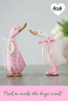 Our pink and white themed ducks make wonderful personalised gifts for all sorts of occasions!. Can be personalised with the name of your choice on their tag. More options available at The Duck Company, DCUK