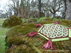 Flower of Life Meditation Mandala - made in the forest with evergreen leaf, wild iris blades, young red leaf shoots, pine needles on earth and rock moss. Wild Iris, Geometric Symbols, Henna Art, Sacred Art, Flower Of Life, Science Art, Land Art, Mandala Art, Sacred Geometry