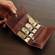 播州レザー お札が入る コインキャッチャー ミニ 三つ折り 財布 小銭入れ ホワイトステッチ