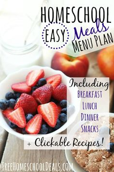 Easy Homeschool Meals Menu Plan: Breakfast, Lunch, Dinner, + Over 80 Snack Ideas!