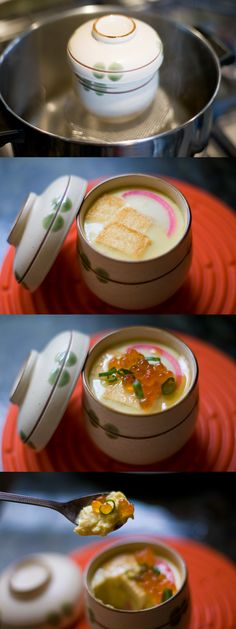 Daiso has adorable chawanmushi cups - I'm sure I could do a vegetarian version!