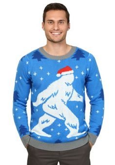 We all know the classic footage of Bigfoot tromping through the woods. But, that was clearly summertime -- we never saw what old Sasquatch looked like in December... until now! This ugly Christmas sweater features a very festive Yeti, donning a red Santa hat in a field of beautiful snow! That's not ugly at all!