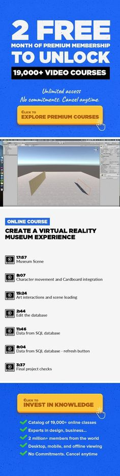 Create a Virtual Reality Museum experience Technology, 3D Design, Game Design, Unity 3D, Virtual Reality #onlinecourses #onlinedegreepopular #onlineeducationlogo   Use Unity3d to create a Virtual Reality experience for Google's cardboard device. Build a Museum SceneInteraction via headset gazeQuery a SQL database to fetch data #virtualrealitydesign
