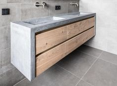 Home - NB Interieurwerken Wood Bathroom, Laundry In Bathroom, Master Bathroom, Concrete Sink, Concrete Kitchen, Bathroom Design Small, Bathroom Interior Design, Wc Container, Wood Cabinets