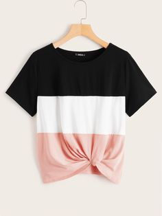 To find out about the Colorblock Twist Hem Top at SHEIN, part of our latest T-Shirts ready to shop online today! Girls Fashion Clothes, Teen Fashion, Fashion News, Fashion Outfits, Clothes For Women, Fashion Styles, Fashion Online, Fashion Trends, Latest T Shirt