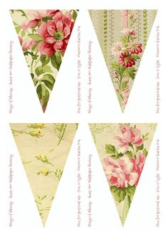 Vintage wallpaper bunting/garland