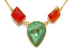 Green Druzy and Carnelian Gemstone Necklace by finegemstone #druzynecklace