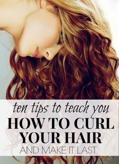 Whether you have long hair, short hair, or medium-length hair, these tips will teach you how to curl your hair and make it last. The bobby pin trick (pin up each fresh curl after spraying for 10 minut (Curling Hair Tips) Pretty Hairstyles, Straight Hairstyles, Easy Hairstyles, Curling Iron Hairstyles, How To Curl Your Hair, Tips Belleza, Great Hair, Hair Hacks, Hair Tips