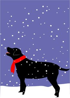 black lab in snow greeting card collection Christmas by LizzyClara, $12.00