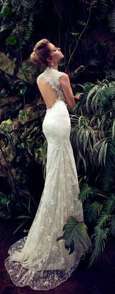 lace wedding dress open back.. if only I was tall enough to pull something like this off