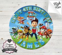 Paw Patrol Inspired 8 Round Edible Icing by CasperEdibleImages