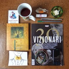 It's raining here in Prague and I have no special plans for today. I like to show you what my necessities for such a day are. First of all, naturally, it's a book. Then it's a bookmark, a cup of Darjeeling, a lip balm, my favourite pens, a few Tic Tac mints, a magazine, and a bunch of keys (if I want to leave the apartment). After all, it's a piece of everyday art, my new bracelets and the old mobile phone Nokia. I hope everybody has a good day!