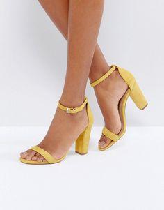 Yellow Suede Block Heels