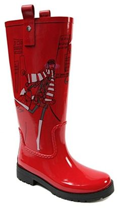Stylish Womens Rain Boots Water Shoes High Leg With Cute Pattern Tyc060 * Click image for more details.