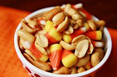 If you've never had this you must try it... really good sweet & salty treat. Mix together in a bowl, 2 cups salted cocktail peanuts and 2 cups candy corn. I prefer peanuts with redskins, but whatever style you prefer. Also some folks use 1-1/2 parts peanuts to 1 part candy corn.