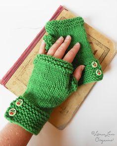 Emerald Green Fingerless Mitts Gloves Hand by LemonLaneOrganics, $35.00