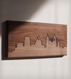 "Atlanta Skyline Wood Art | CNC routed skyline of Atlanta in solid walnut. Dimensions: 6"" ... 