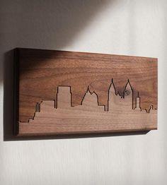 "Atlanta Skyline Wood Art | CNC routed skyline of Atlanta in solid walnut. Dimensions: 6"" ... | Mixed Media Art"