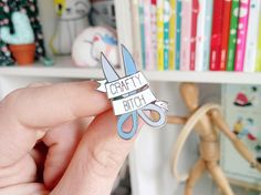 CRAFTY B*TCH hard enamel pin | Lapel pin | Cute lilac blue scissors | bright pastel | arts and crafts | Stocking Fillers | gift for women | pin by Megan McNulty