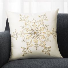 Shop Flurry White Snowflake Pillow with Feather-Down Insert Gorgeous snowflake is hand embroidered by skilled artisans, using seven different embroidery elements. Christmas Bedding, Christmas Cushions, Christmas Trends, Pink Christmas, Xmas, Holiday Ideas, Merry Christmas, Snowflake Pillow, White Snowflake