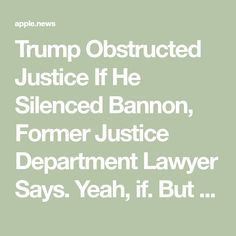 Trump Obstructed Justice If He Silenced Bannon, Former Justice Department Lawyer Says. Yeah, if. But it isn't rocket science to know that it is almost assuredly true!!
