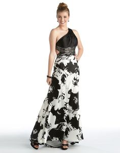 Betsy   Adam One Shoulder Beaded Sequin Black White Print Evening Gown  Size  12 c3ed1fced170