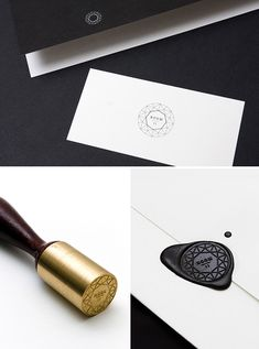 From SouthSouthWest design studio. Love that a logo that is so fine and delicate translates to so many applications - light on dark, dark on light, and even a textural wax seal.