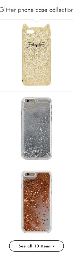 """""""Glitter phone case collection"""" by paustukas ❤ liked on Polyvore featuring accessories, tech accessories, phone cases, phone, cases, fillers, grey, chiara ferragni, gold glitter and kate spade"""