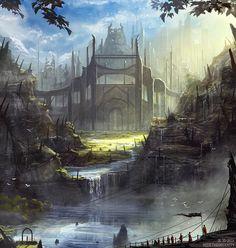 Little fantasy concept - A kingdom of dwarfs hidden in the sea. Updated 18-10-2014