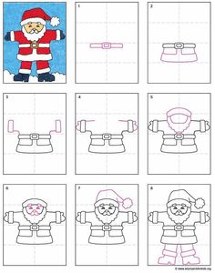 Step by step drawing santa claus drawing easy my tutorials santa claus drawing step by step Christmas Art Projects, Easy Art Projects, Projects For Kids, Santa Claus Drawing Easy, Drawing Santa, Drawing For Kids, Art For Kids, Drawing Ideas, How To Draw Santa