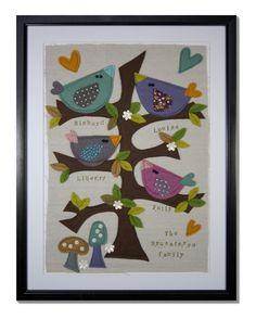 Personalised bird family tree by LouiseBrusaferro on Etsy