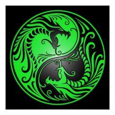 Yin Yang Dragons, green and black Poster