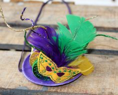 Mardi Gras Mini Top Hat, Doll Sized Mardi Gras Headband, Infant, Child Mini Top Hat, Dog Hat, Carnivl Hat,  Accessories, Purple Felt Hat by LaBandeauxBowtique on Etsy