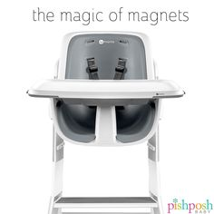 One-handed, magnetic tray. Easy adjust, 3 position height. Easy to clean, with smooth surfaces and removable insert. Accessories that stay where they're put. The 4moms high chair is EVERYTHING. Now accepting pre-orders!  http://www.pishposhbaby.com/4moms-high-chair.html