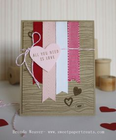 ribbon strips; stamped background; sentiment on element