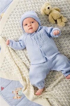 Tema 24 Babytepper og Hentesett Baby Barn, Little Boy Blue, Baby Layette, Dress With Cardigan, Baby Outfits, Baby Knitting, Knit Crochet, Infant, Rompers