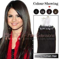 Micro Loop Ring Human Hair Extensions (#1B Natural Black)