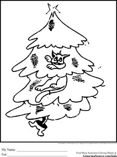 Christmas Tree Coloring Pages Cat