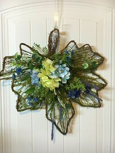 Hydrangea Spring decor - Spring door hanger - Spring door decor - Hydrangea door hanger - silk flower hanger - Spring wreath arrangement by BsCozyCottageCrafts on Etsy