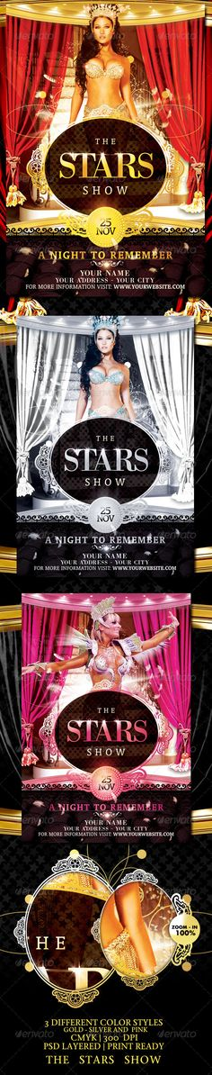 The Stars Show Flyer Template / $6. *** This Flyer is Perfect for the Promotion of Theaters, Musicals, Spectacles, Festivals or Whatever You Want!. ***