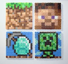 Handmade coasters from Hama Beads - based on the game Minecraft Pc Minecraft, Hama Beads Minecraft, Minecraft Party, Pearler Bead Patterns, Perler Patterns, Pixel Art, Hama Beads Coasters, Perler Bead Templates, Hama Beads Design