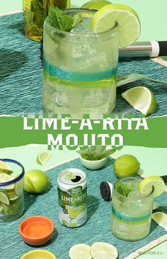 The mojito is a classic, but the Lime-A-Rita Mojito is a fiesta! Just follow these easy steps and enjoy! 1) Muddle fresh mint in a high ball glass. 2) Add lime juice and sugar. Stir. 3) Add ice and a Lime-A-Rita. 4) Stir, garnish and serve!