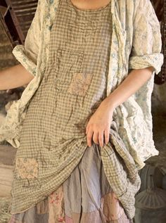 Magnolia Pearl: Reversible Grandma Brown & county fair check cotton Baileybelle Slipdress