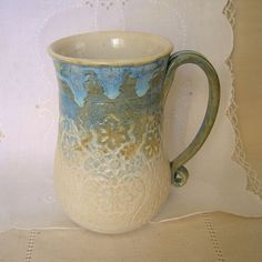 Stoneware Pottery Coffee Mug  20 oz by Porcelain Jazz $28