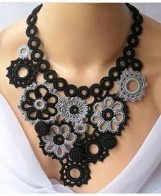 Fabulous Crochet a Little Black Crochet Dress Ideas. Georgeous Crochet a Little Black Crochet Dress Ideas. Crochet Panda, Love Crochet, Beautiful Crochet, Crochet Flowers, Knit Crochet, Crochet Baby, Fiber Art Jewelry, Textile Jewelry, Fabric Jewelry