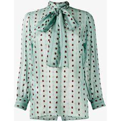GUCCI Ladybug Print Silk Shirt with Necktie ($1,245) ❤ liked on Polyvore featuring tops, animal print shirt, long sleeve shirts, green silk shirt, green top and animal print tops