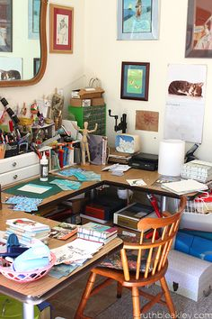 Bookbinding Studio Desk - Ruth Bleakley...And the PVA stands tall!