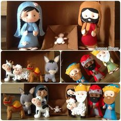 Nativity in felt Nativity Ornaments, Crochet Christmas Ornaments, Christmas Nativity, A Christmas Story, Felt Ornaments, Christmas Art, Christmas 2017, Winter Christmas, Felt Decorations
