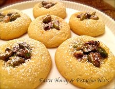 Easter Honey & Pistachio Nests Created by diamondchef My 'Easter Honey & Pistachio Nests' takes me back to my grandmas melt-in-your-mouth Easter cookies. With a simple blend of pistachios and honey carefully nestled o ...