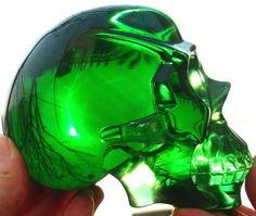 Anatomy Art Skull in Green Obsidian